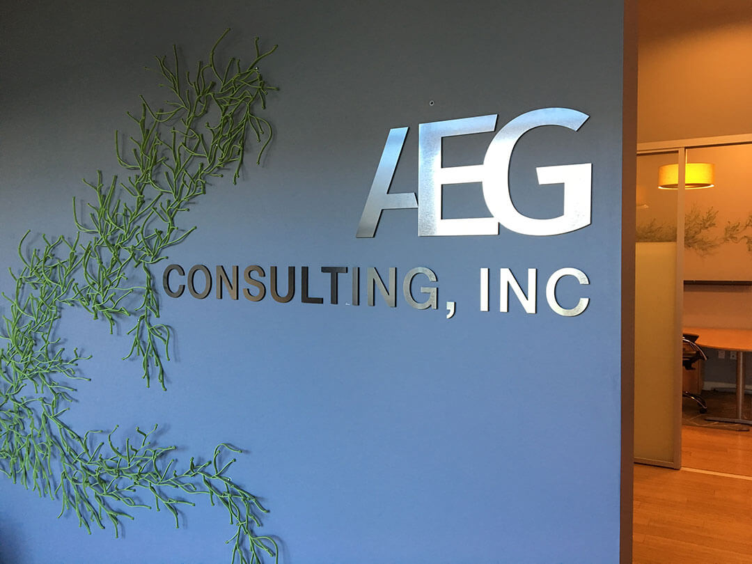 AEG Brushed Lobby Sign