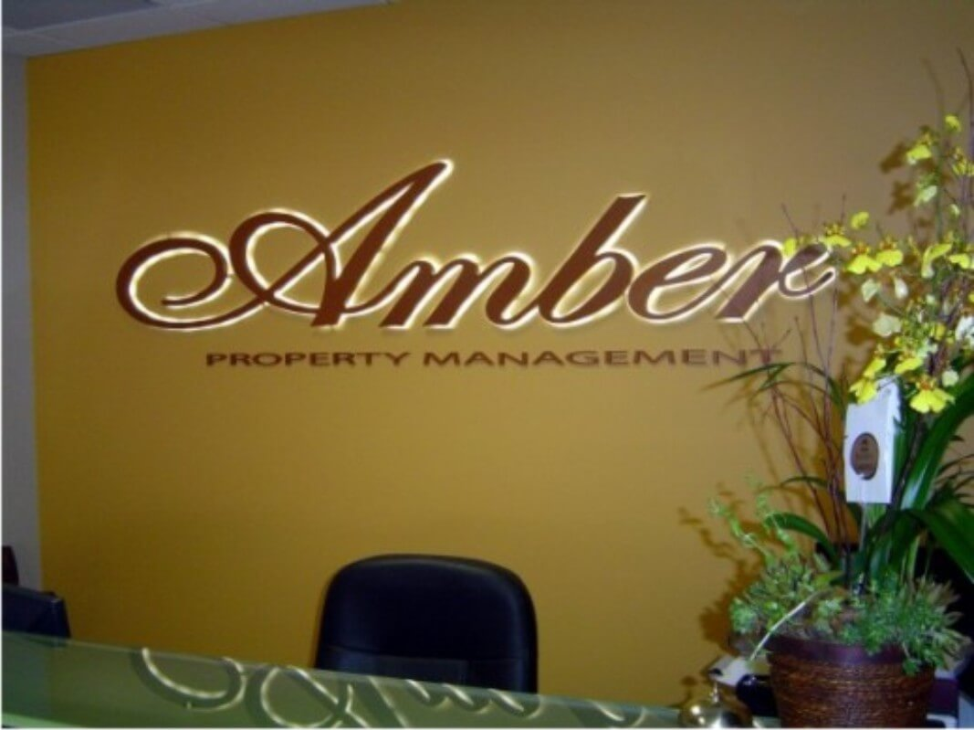 Amber Property Management Lobby Sign