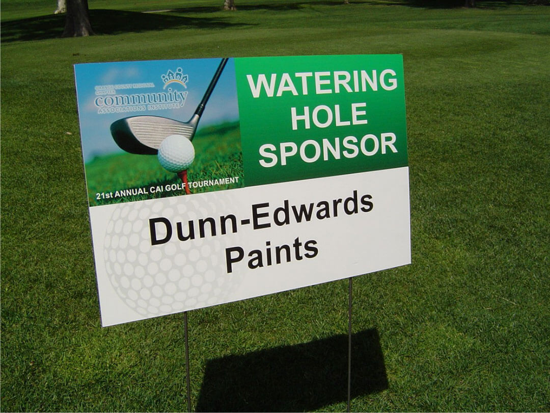 special event signs for Dunn Edwards Paints golf tournament